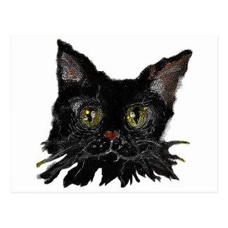 Postal JASPE - su gato negro de HALLOWEEN