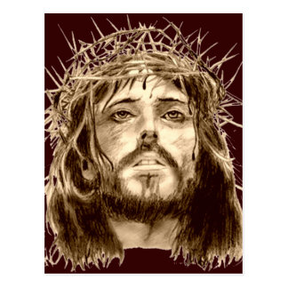 Postal Jesucristo con una corona de espinas