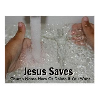 Postal Jesús en agua con dos pulgares sube la promoción