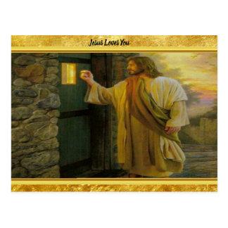 Postal Jesús en su puerta con un diseño del efecto