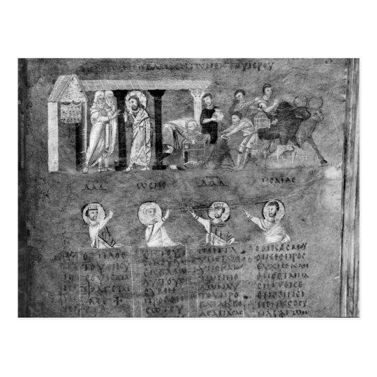 Postal Jesús que conduce a los comerciantes del templo