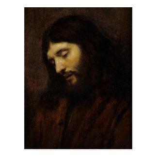 Postal Jesús que mira hacia abajo