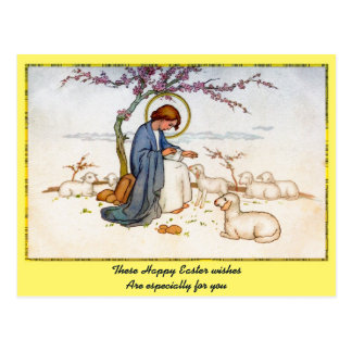 Postal Jesús religioso clásico con los deseos de Pascua