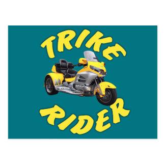 Postal Jinete de Trike en amarillo