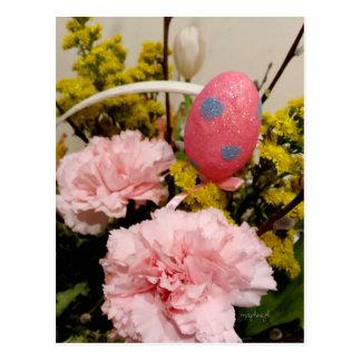 Postal Jjhelene floral de la cesta del huevo del clavel