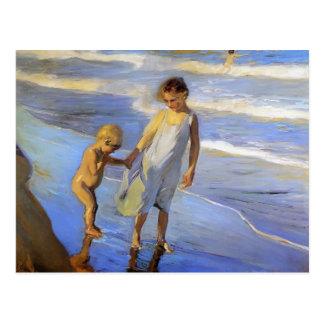Postal Joaquín Sorolla- Valencia, niñas en una playa