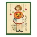 Postal JOL del diseño de Halloween de la Vintage-A