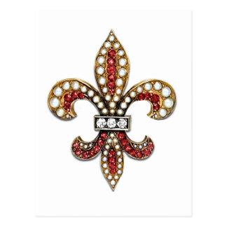 Postal Joya New Orleans de la flor de lis de Flor De Lis