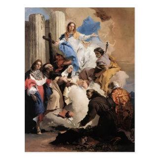 Postal Juan Tiepolo- la Virgen con seis santos