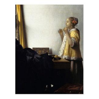 Postal Juan Vermeer, mujer joven con el collar de la