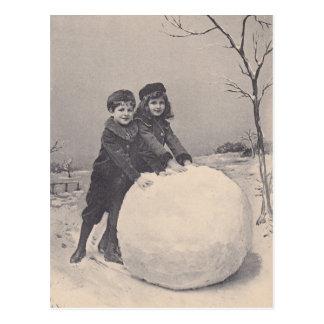 Postal Juego ANTIGUO del deslumbramiento de la nieve de
