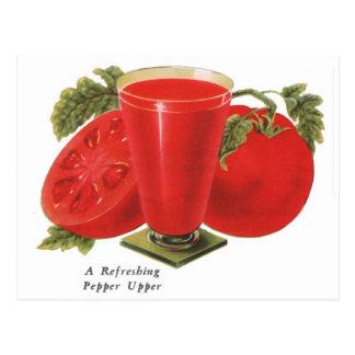 Postal Jugo de tomate retro de los tomates de la comida