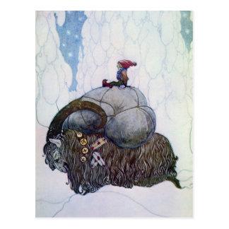 Postal Julbocken que monta la cabra de Yule