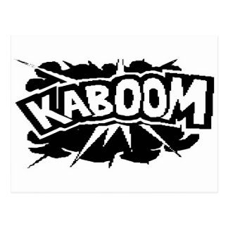 Postal ¡KABOOM retro! Ráfaga - negro y blanco