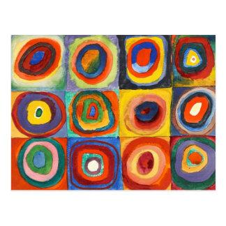 Postal Kandinsky - cuadrados con los círculos