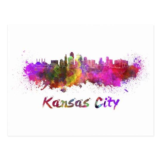 Postal Kansas City skyline in watercolor