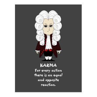 Postal Karmas y ley de Newton la 3ro (fondo oscuro)