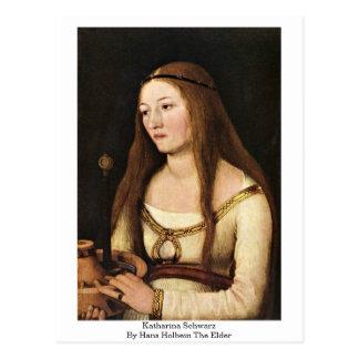 Postal Katharina Schwarz de Hans Holbein la anciano