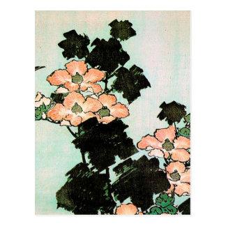 Postal Katsushika Hokusai (葛飾北斎) - hibisco y gorrión