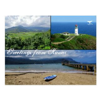 Postal Kauai, Hawaii, bahía de Hanalei, faro de Kilauea