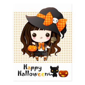 Postal Kawaii feliz Halloween