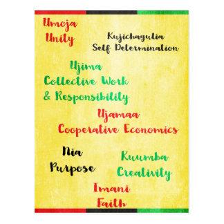 Postal Kawanzaa feliz siete principios