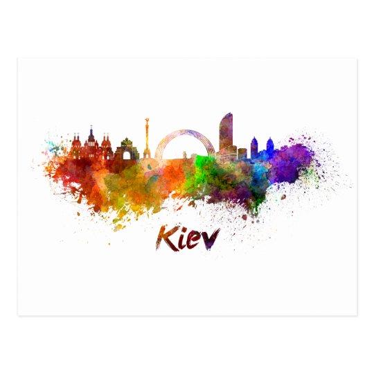 Postal Kiev skyline in watercolor