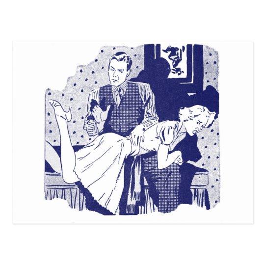 Postal Kitsch retro del vintage que azota a la esposa