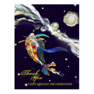 Postal Koi en diseño de la fantasía del universo le