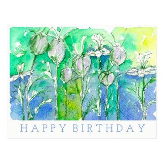 Postal La acuarela de Nigella florece feliz cumpleaños