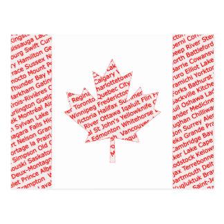 Postal La bandera canadiense con la ciudad y el pueblo