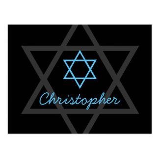 Postal La barra negra y azul Mitzvah le agradece