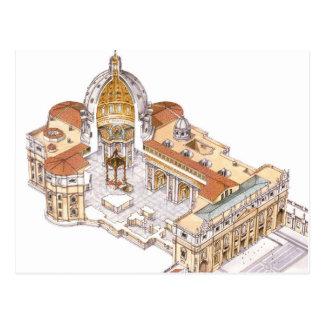 Postal La basílica de San Pedro. Ciudad del Vaticano