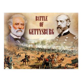 Postal La batalla de Gettysburg con Lee y Meade