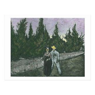 Postal La bella arte de Van Gogh de los amantes