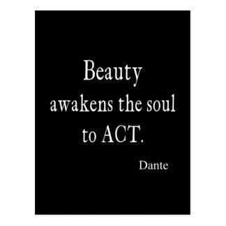 Postal La belleza de Dante del vintage despierta la cita