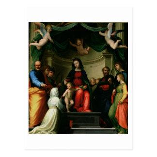 Postal La boda mística de St. Catherine de Siena con