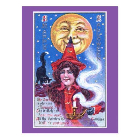 Postal La bruja, el chica, el vintage de Halloween de la