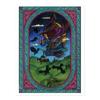 Postal la bruja y los cuervos
