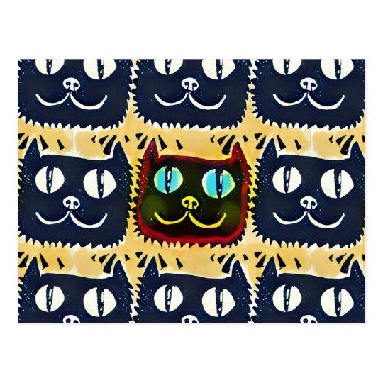 Postal la cabeza grande del gato azul de los ojos tejó el