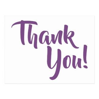 Postal La caligrafía púrpura violeta le agradece