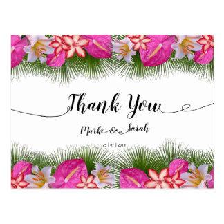 Postal La caligrafía tropical de las flores y de las