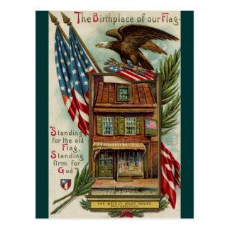Postal La casa, Eagle y bandera de Betsey Ross