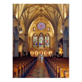 Postal La catedral de San José - pasillo principal/frente