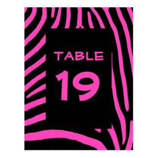 Postal La cebra rosada raya número de la tabla