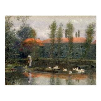 Postal La charca de William Morris trabaja en la abadía