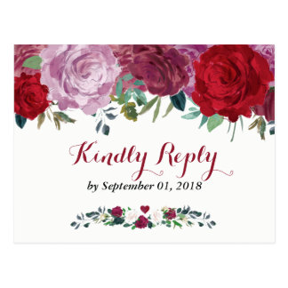 Postal La colección floral romántica del boda