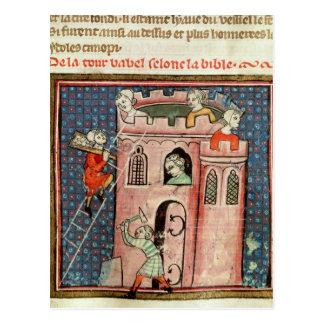 Postal La construcción de la torre de Babel