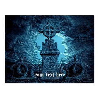 Postal La cruz céltica tejó la piedra sepulcral en azul