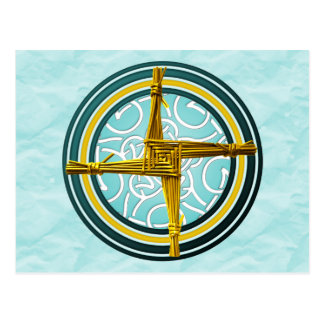 Postal La cruz de Brigid amarillo en azul